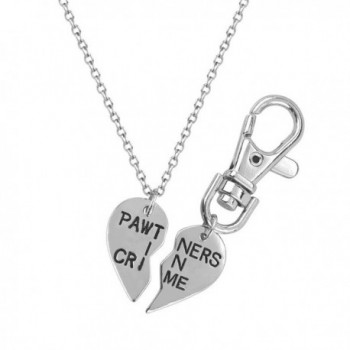 Lux Accessories Partners In Crime Partners Necklace Matching Dog Tag Collar Keychain. - C211ZU3P5X1