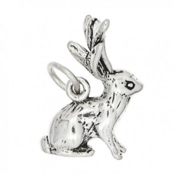 Sterling Silver Oxidized Three Dimensional Jackalope Rabbit Charm - C71165FBN9D