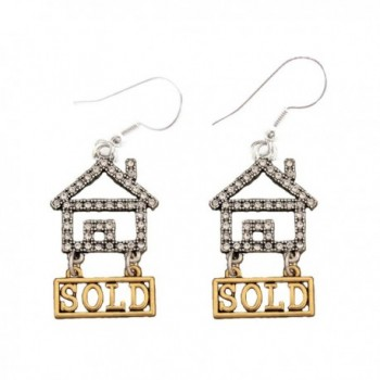 Realtor Crystal House Gold Sold Silver Wire Hook Earrings Jewelry Home Seller - CL11ZBTHJIN