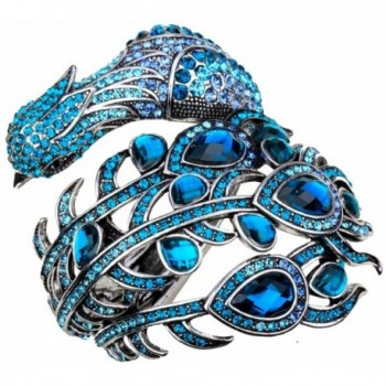 Hiddlston Crystal Jewelry Peacock Feather Custom Collection Bracelet Bangle For Women - Blue - CX187K60Z8Y