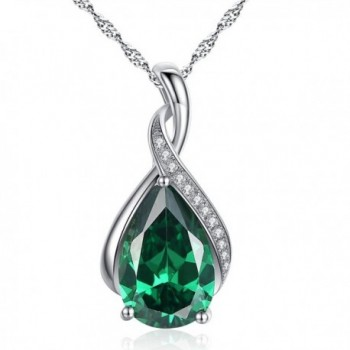 Mabella Sterling Silver Simulated Birthstone Pendant Necklace Jewelry- Gifts for Women - Simulated Emerald - CL12GXW2NRX