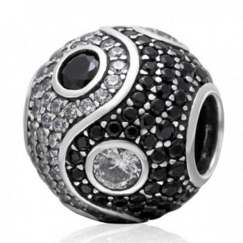 Choruslove Cubic Zirconia Yin Yang Tai Chi Charm Bead for Snake Chain Bracelet - C512JVXFM0L
