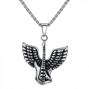 """Stainless Steel Angel Wing Guitar Pendant Necklace- Unisex- 21"""" Link Chain- jjp002 - CO12CB85X2F"""