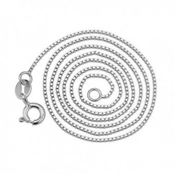 "YFN Sterling Silver 0.8mm Box Chain Necklace- 14"" - 36"" - C917YE0YA6Z"