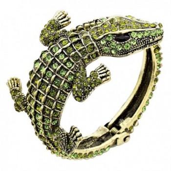 Rosemarie Collections Women's Hinged Pave Alligator Wrap Bracelet - Green - CF12NRNL4UW