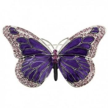 Purple Enamel Crystal Butterfly Pin Brooch - C4114AXPZ4Z