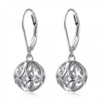 S925 Sterling Silver Stud Dangle Hollow Heart Earrings for Women Girl -SILVER MOUNTAIN - CR189NLOS2Y