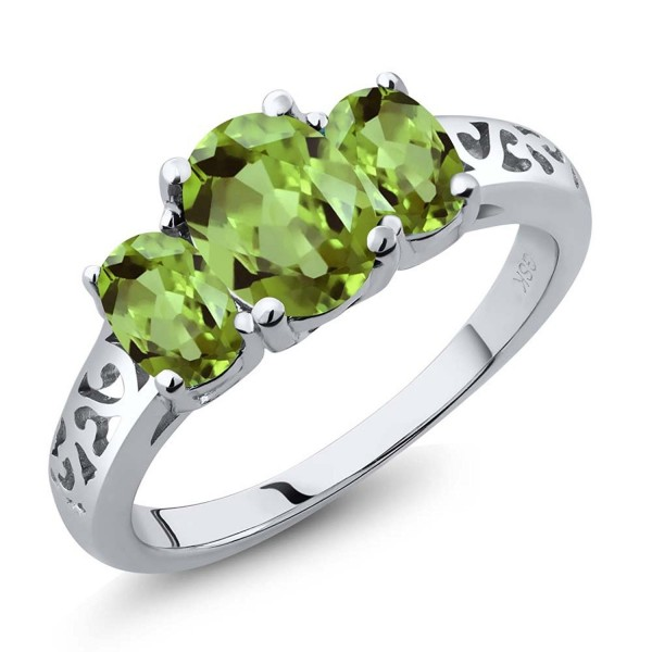 2.15 Ct Oval Green Peridot Gemstone 925 Sterling Silver Women's 3 Stone Ring (Available in size 5- 6- 7- 8- 9) - C3116TF57C3