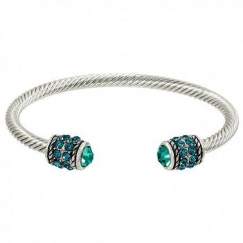 Falari Crystal Cable Wire Cuff Bracelet Gift Box Included - Blue Zircon. - CS183N6OWW2