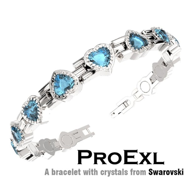 ProExl Swarovski Love Heart Crystal Womens Magnetic Bracelet Blue Crystals with Gift Box - C1126ZGXEHZ