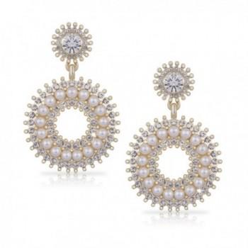SIFUNUO Gold Earring Open Circle Drop Earrings Rhinestone Crystals & Pearl Earring Large Art Deco Earring - CY12N1R4450