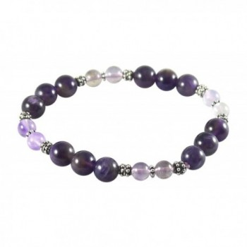"""Amethyst Bracelet with Super Seven- Melody Stone- 7 1/4""""- Sterling Silver- Stretch - C512J9F7ADH"""