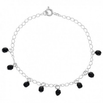 """Silver Plated Simulated Azabache Jet Black Charm Link Thin Bracelet 7"""" - CQ12C9NFWZZ"""