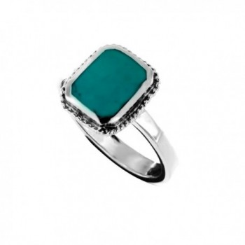 Oxidized Sterling Silver Rope Framed Blue Dyed Turquoise Square Gemstone Ring- Sizes 6-8 - CL1897NTMDH