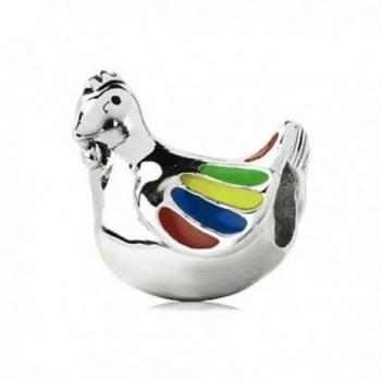 Sterling Silver Enamel Chicken Charm- Fits Pandora- Chamilia- Troll Bracelet - C2116ENXIE9