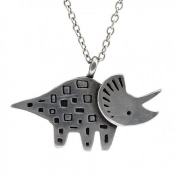 "Mark Poulin Women's Pewter Necklace Triceratops Dinosaur 18"" Chain - CU11Q2B5R01"