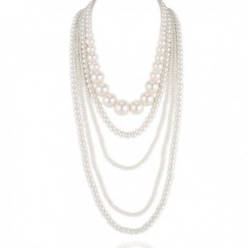 Kalse Multiple layers 5 12 Strand Simulated Pearl White Beads Cluster Long Bib Party Necklace - 5 strand - C812HP4NDWR