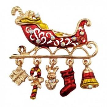 SELOVO Santa Sleigh Boots Christmas Brooch Pin Gold Tone - CO12MZL6O37
