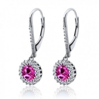 4.02 Ct Round Pink Created Sapphire 925 Sterling Silver Women's Dangle Earrings - CD11NXDQKOX