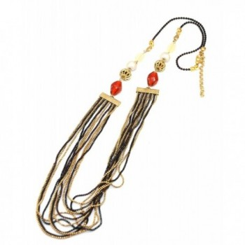 Gold Black Multichain Long Necklace Orange and Pearl beaded Statement - C21181P8Z0P