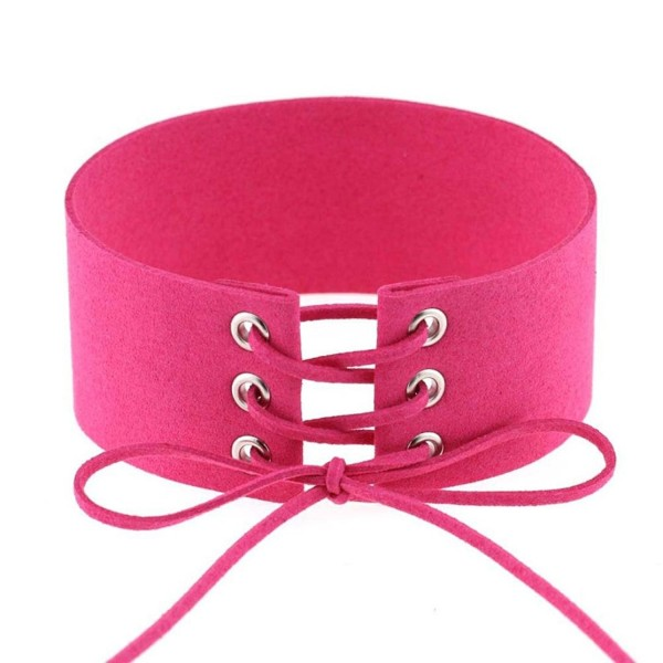 Choker Emubody Womens Vintage Velvet Necklaces Leather Choker Charm - Hot Pink - CA12NT2QAYD