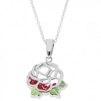 """Disney Women's and Girls Jewelry Beauty and the Beast Sterling Silver Crystal Rose Shaker Pendant-18"""" - CV186XZSEAY"""