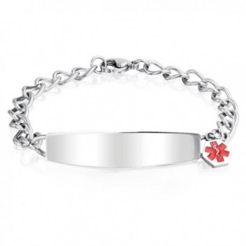 Bling Jewelry Womens Stainless Steel Medical Alert Red Enamel ID Charm Bracelet 7.5in with Engraving - CX11OBDNK5B