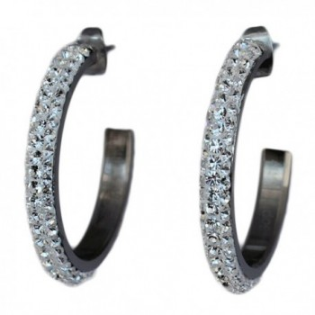 "1"" Hoop Earrings for women with Beautiful Sparkly Rhinestone Crystals - Clear - CD118YXN88X"