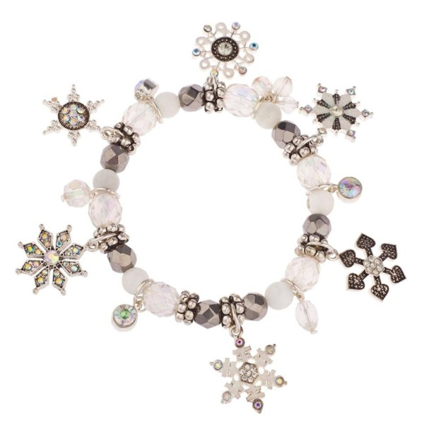 Lux Accessories Frozen Snowflake Christmas Xmas Snow Flake Braded Charm Bracelet - CN11QS4TC21