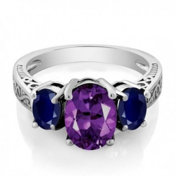 Sterling Silver Purple Amethyst & Blue Sapphire 3-Stone Ring (2.76 cttw- Available in size 5- 6- 7- 8- 9) - C911GNAJ12P