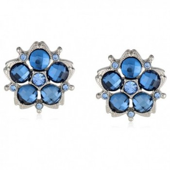 "1928 Jewelry ""1928 Blue Jeweltones"" Silver-Tone Flower Button Stud Earrings - Silver-Tone/Blue - CF11FTA41ZR"