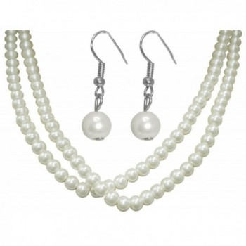 Ivory Imitation Pearl Necklace and Earring Set for Bride-Bridesmaid-Wedding-Prom-New Years Eve - C611C9ZN9I1