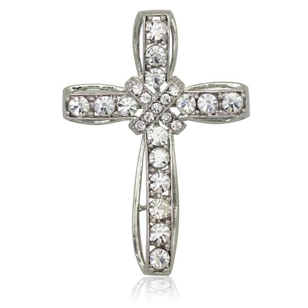 Akianna Silver-tone Swarovski Element Clear Crystals Cross Pin Brooch - C71275W59BH