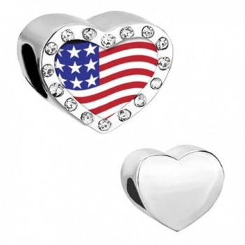 CharmSStory American Usa US Flag Charms Heart Red Synthetic Crystal Photo Beads - White - CD11Z303HYZ