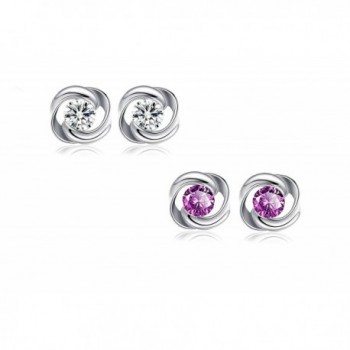 925 Sterling Silver and White Gold Plated Rose Flower Fashion Stud Earrings with Purple Crystal in 2 sets - CN17YZZWUQM
