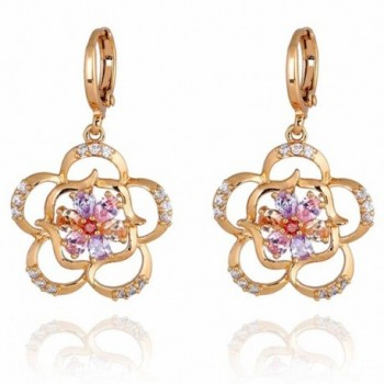 Yazilind Charming 18k Gold Filled Flower Inlay Cubic Zirconia Dangle Drop Earrings for Women - Colorful - CZ11ME95FCF
