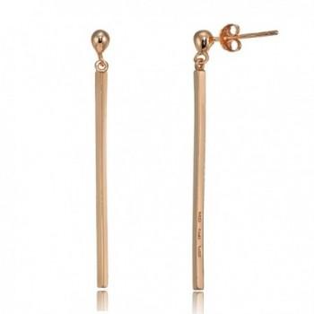 Sterling Silver Polished Long Bar Dangle Earrings - CE186EGAG2K