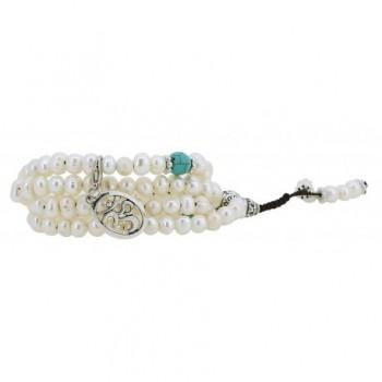 Freshwater Cultured Pearls Yoga Meditation 108 Prayer Beads Mala Wrap Bracelet or Necklace with Brass Guru Bead - C912J30E0WN