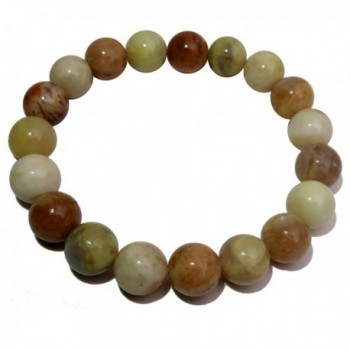 Satin Crystals Moonstone Medley Bracelet 9mm Boutique Earthy Yellow Peach Round Gemstone Handmade Stretch B01 - C3189OEZYSL
