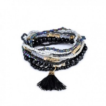 Lureme Bohemian Beads Pearl Tassel Multi Strand Textured Stackable Bangle Bracelet Set(bl003054) - Black - CW182AC6390