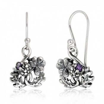 ff6109789 WithLoveSilver 925 Sterling Silver Thistle Luckenbooth and Shamrock Clover  Heart Dangle Hook Earrings - CK12JIWLP6F