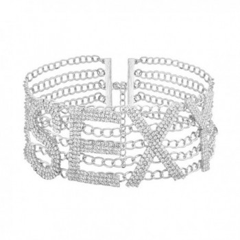 Women Luxury Specific SEXY Letter Rhinestone Inlaid Choker Alloy Wide Necklace - Silver - CA184KRAOS4