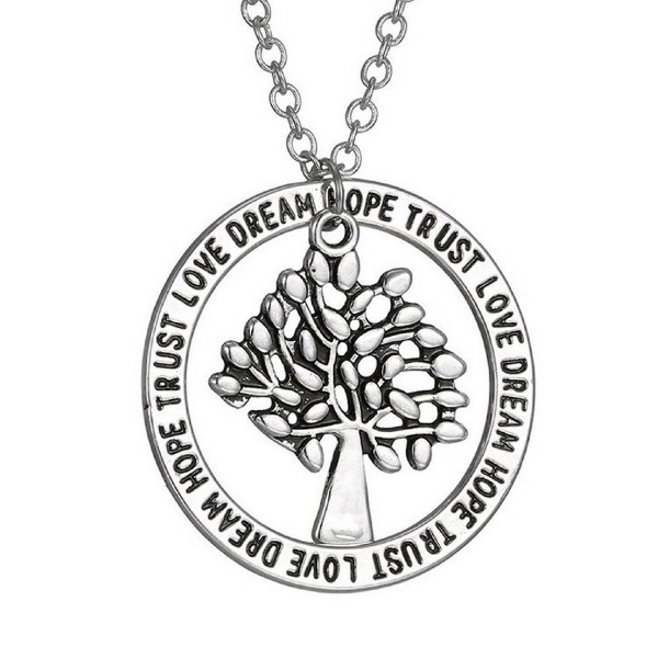 Tree of Life Pendant Necklace - Love- Dream- Hope- Trust Inspirational Jewelry - Gift Jewelry - C3182XLU58Q
