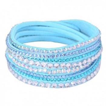 Eyourlife Fashion Leather Wrap Wristband Rhinestone Multilayer Bracelet Bangle Light Blue - CB11PPRTG1T