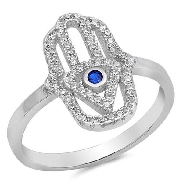 Hamsa Hand of God Blue Simulated Sapphire Ring New .925 Sterling Silver Band Sizes 4-10 - CT12JPCMSPZ