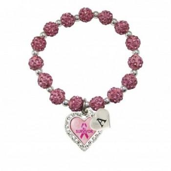 Custom Breast Cancer Awareness Survivor Stretch Jeweled Pink Bracelet Choose Initial - CF12N1M7RC7