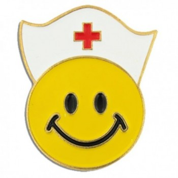 PinMart's Yellow Smiley Face with Nurse Cap Nursing Enamel Lapel Pin - CW11KV44AGL