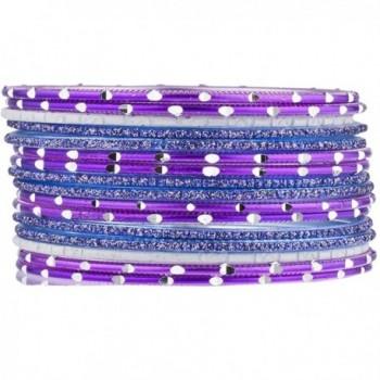 Lux Accessories Purple Blue Glitter Indian Wedding Boho Multi Bangle Set 16 PC - CP183466EQ5