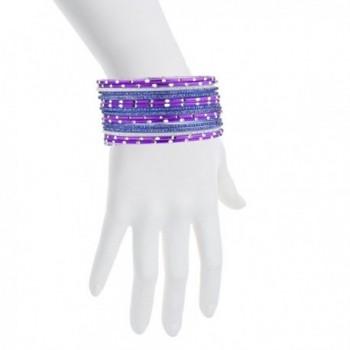 Lux Accessories Purple Glitter Wedding in Women's Bangle Bracelets