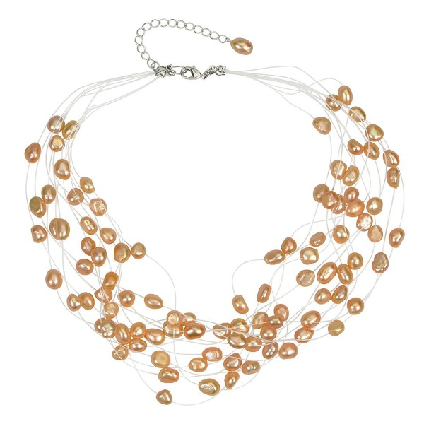 Regalia Multi Strand Baroque Freshwater Cultured Pearl Floating Necklace - Peach - CI182OMA2L6